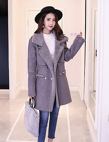 Women's Street chic Wool Coat-Solid Colored,Modern Style