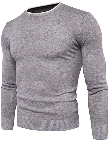 Herren Standard Pullover-Lässig/Alltäglich Einfach Solide Rundhalsausschnitt Langarm Baumwolle Polyester Mittel Mikro-elastisch
