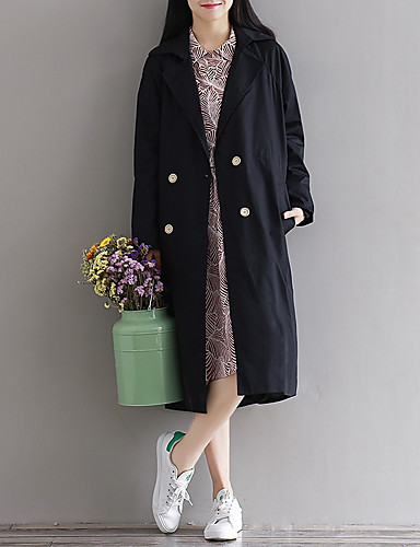 Damen Solide Einfach Lässig/Alltäglich Mantel,V-Ausschnitt Frühling Herbst Langarm Lang Baumwolle