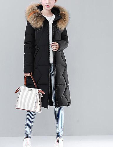 Damen Gefüttert Mantel Einfach Sexy Ausgehen Lässig/Alltäglich Solide-Polyester Daune Langarm