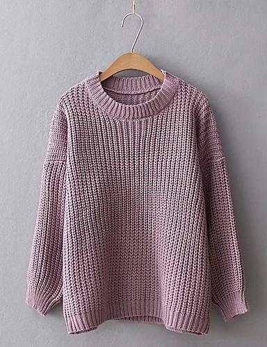 Damen Standard Pullover-Lässig/Alltäglich Ausgehen Solide Rundhalsausschnitt Langarm Kaninchen-Pelz Baumwolle Andere Mittel Dünn