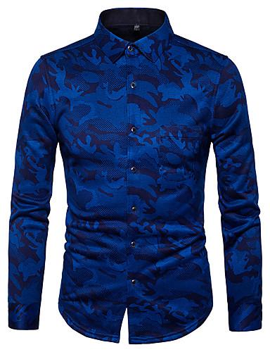 Koszula Męskie Moda miejska, Nadruk Szczupła - Geometric Shape / Długi rękaw