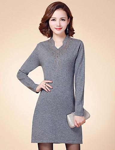 Damen Hülle Kleid-Ausgehen Lässig/Alltäglich Solide V-Ausschnitt Übers Knie Langarm Baumwolle Frühling Herbst Hohe Taillenlinie