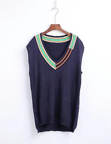 Damen Standard Weste-Lässig/Alltäglich Ausgehen Einfarbig V-Ausschnitt Ärmellos Wolle Baumwolle Andere Mittel Mikro-elastisch