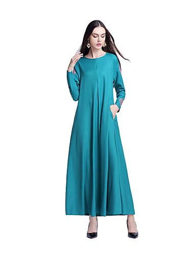 Damen Swing Kleid-Lässig/Alltäglich Druck Rundhalsausschnitt Maxi Langarm Baumwolle Frühling/Herbst Mittlere Hüfthöhe Mikro-elastisch