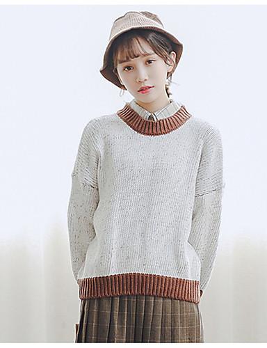 Damen Freizeit Baumwolle Langarm Pullover - Einfarbig / Herbst
