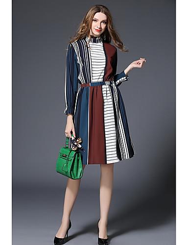 Damen Chiffon Kleid-Arbeit Gestreift Ständer Knielang Langarm Polyester Mittlere Hüfthöhe Mikro-elastisch Mittel