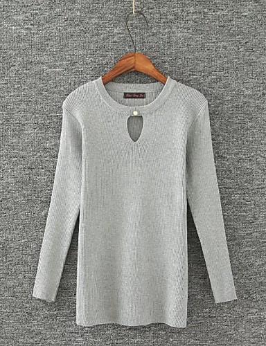Damen Standard Pullover-Lässig/Alltäglich Ausgehen Solide Rundhalsausschnitt Langarm Baumwolle Andere Mittel Dünn Mikro-elastisch