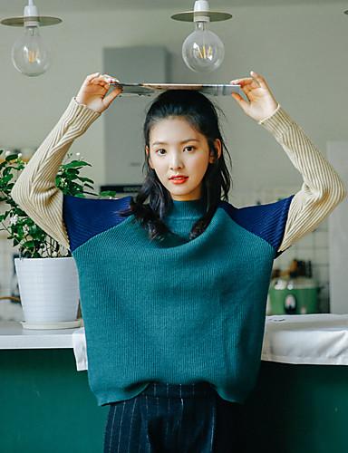 Damen Standard Pullover-Lässig/Alltäglich Einfach Einfarbig Rundhalsausschnitt Langarm Baumwolle Herbst Mittel Mikro-elastisch