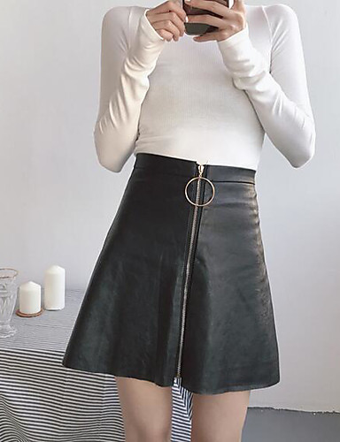 Damen Ausgehen Über dem Knie Röcke einfarbig Winter