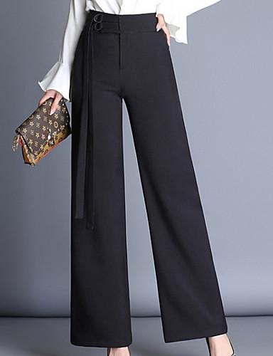 abordables Pantalons Femme-Femme Grandes Tailles Quotidien Sortie Entreprise Pantalon - Couleur Pleine Noir S M L