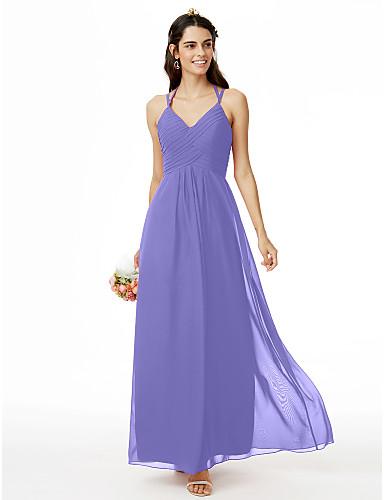 cheap Bridesmaid Dresses-Sheath / Column Spaghetti Strap Ankle Length Chiffon Bridesmaid Dress with Criss Cross / Pleats by LAN TING BRIDE®