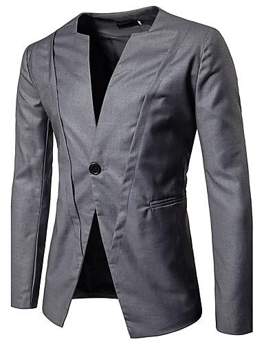 Herrn Solide Retro Alltag Freizeitskleidung Standard Blazer, Hemdkragen Frühling Herbst Baumwolle