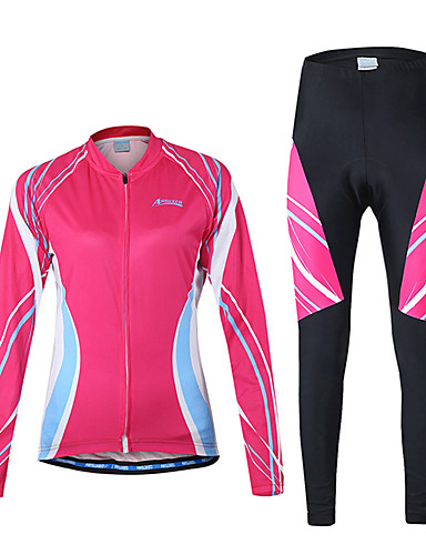 cheap Cycling Clothing-Arsuxeo Women's Long Sleeve Cycling Jersey with Tights - Purple Pink Bike Clothing Suit Breathable Quick Dry Back Pocket Sports Polyester Spandex Patchwork Mountain Bike MTB Road Bike Cycling