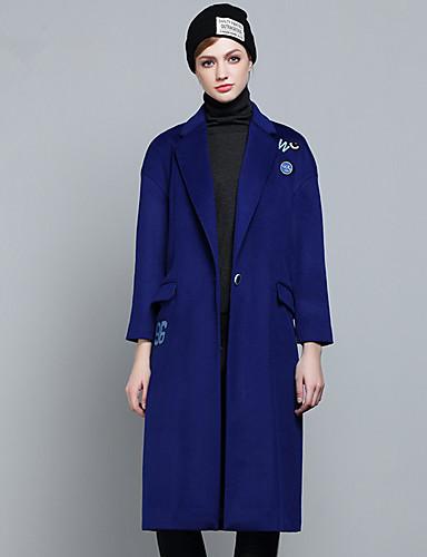 Damen Solide Druck Einfach Lässig/Alltäglich Mantel,V-Ausschnitt Herbst Winter Langarm Lang Polyester