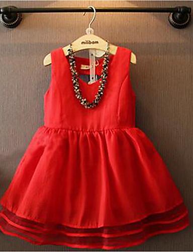 Sukienka Bawełna Dziewczyny Jendolity kolor Lato Bez rękawów Urocza Księżniczka Czerwony