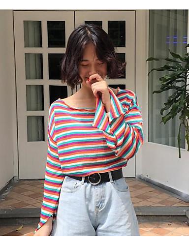 Damen Standard Pullover-Alltag Freizeit Gestreift Rundhalsausschnitt Langarm Baumwolle Frühling Herbst Dünn Mikro-elastisch