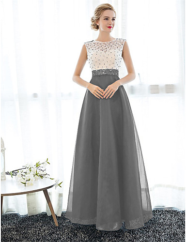 cheap Evening Dresses-A-Line Illusion Neck Floor Length Tulle Over Lace Beautiful Back Prom / Formal Evening Dress with Beading by LAN TING Express