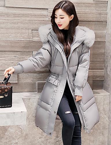 Damen Gefüttert Mantel,Lang Niedlich Street Schick Ausgehen Lässig/Alltäglich Solide-Polyester Langarm