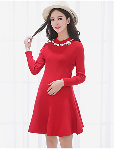Damen Strickware Kleid-Lässig/Alltäglich Solide Ständer Übers Knie Langarm Acryl Mittlere Hüfthöhe Mikro-elastisch Mittel