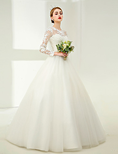 Ball Gown Jewel Neck Floor Length Tulle   Corded Lace   Lace Over Tulle  Made-To-Measure Wedding Dresses with Lace   Pearls   Sashes   Ribbons by LAN  TING ... c3c63964605c