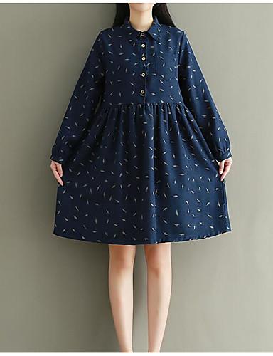 Damen Ausgehen Baumwolle A-Linie Kleid Punkt Knielang Hemdkragen