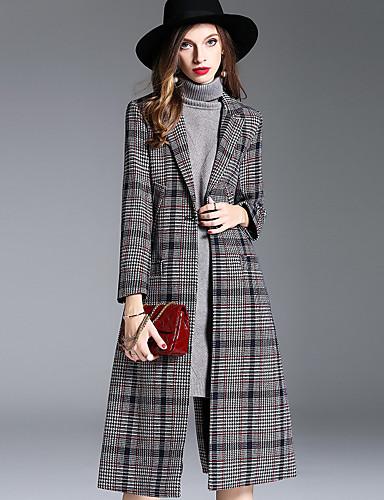 Damen Hahnentrittmuster Einfach Freizeit Street Schick Anspruchsvoll Alltag Ausgehen Mantel Winter Herbst Standard Polyester