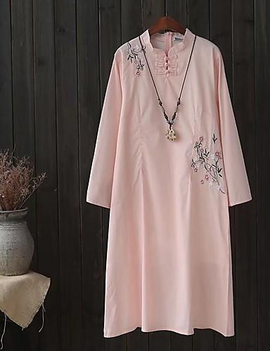 Damen Lose Etuikleid Kleid-Ausgehen Lässig/Alltäglich Solide Stickerei Rundhalsausschnitt Midi Langarm Leinen Andere Mittlere Hüfthöhe
