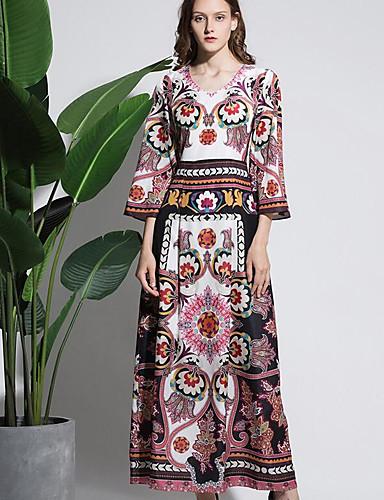 Damen Swing Kleid-Ausgehen Lässig/Alltäglich Druck V-Ausschnitt Maxi 3/4 Ärmel Polyester Herbst Hohe Hüfthöhe Mikro-elastisch Dick