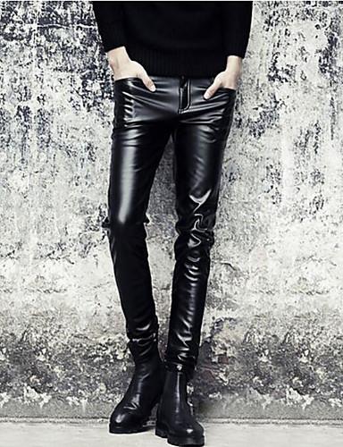 voordelige Uitverkoop-Heren Punk & Gothic Uitgaan Skinny Chinos (zwaar katoen) Broek - Effen Herfst Zwart 34 36 35