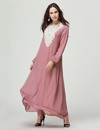 halpa Etniset & Cultural Puvut-Arabian mekko Abaya Kaftan mekko Jalabiya Naisten Ethnic Style Leningit ja hameet Pitsi Festivaali / loma Polyesteria Vihreä / Sininen / Pinkki Karnevaalipuvut Color Block