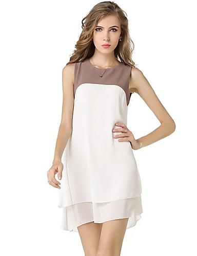 luźna sukienka damska luźna szyfonowa sukienka - kolorowa blokada, podstawowy patchwork w talii