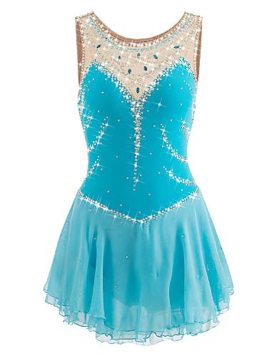 robe de patinage artistique femme fille patinage robes bleu ciel spandex strass utilisation. Black Bedroom Furniture Sets. Home Design Ideas