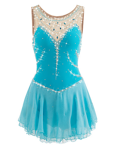Figure Skating Dress Women's / Girls' Ice Skating Dress LightBlue Spandex Rhinestone Performance Skating Wear Handmade Jeweled /