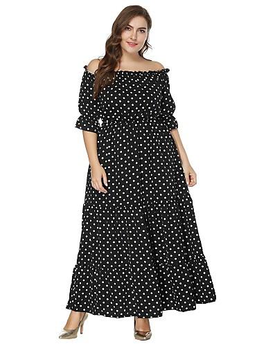 Kadın's Büyük Bedenler Kumsal Boho Çan Elbise - Yuvarlak Noktalı Kayık Yaka Maksi Siyah / Düşük Omuz