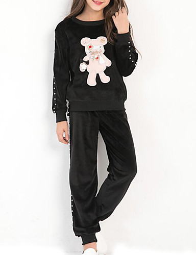 Dla dziewczynek Nadruk Komplet odzieży, Bawełna Jesień Zima Długi rękaw Prosty Black