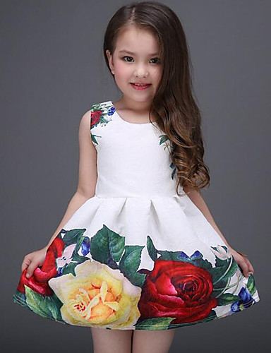 cheap Fashion Clothing-Kids Girls' Sweet Daily / Holiday Floral Print Sleeveless Polyester Dress White