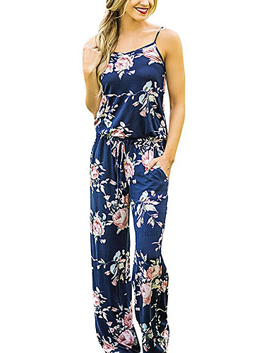 d3fba3612bc1 Women s Floral Plus Size Holiday   Going out   Weekend Vintage   Boho Strap  Navy Blue Wine Khaki Wide Leg Jumpsuit