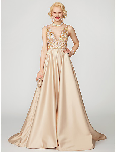 cheap Prom Dresses-Ball Gown Plunging Neck Floor Length Satin Cocktail Party / Prom / Formal Evening Dress with Beading by TS Couture®