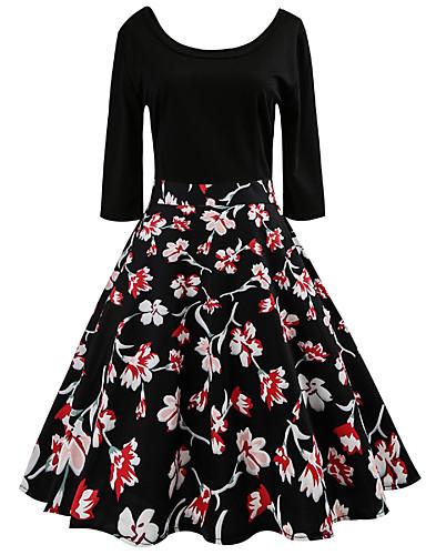 Damskie Prosty Vintage Linia A Sukienka - Kwiaty Patchwork Midi