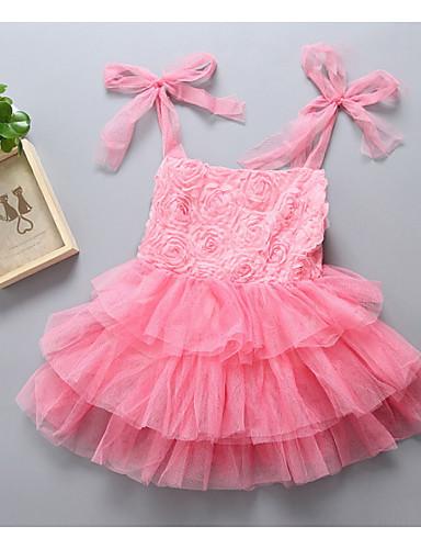 Sukienka Poliester Dziewczyny Codzienne Jendolity kolor Lato Bez rękawów Prosty Blushing Pink