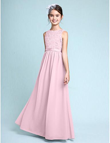 4cd2d6d9946e1 Sheath / Column Bateau Neck Floor Length Chiffon / Lace Junior Bridesmaid  Dress with Lace by LAN TING BRIDE® / Natural