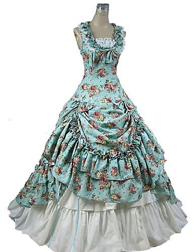 رخيصةأون الأزياء التنكرية التاريخية والقديمة-القوطية لوليتا فيكتوريا نسائي فساتين الالتفاف ملابس تأثيري أزرق ورد كاب بدون كم طول الكعب ازياء