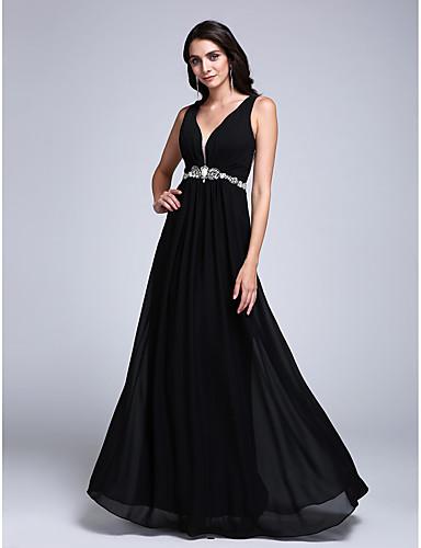 גזרת A צווארון וי עד הריצפה שיפון ערב רישמי שמלה עם חרוזים בד נשפך בצד על ידי TS Couture®
