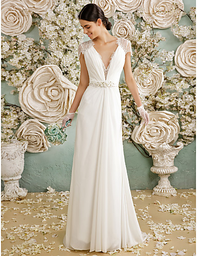 Sheath / Column Plunging Neck Sweep / Brush Train Chiffon / Sheer Lace Made-To-Measure Wedding Dresses with Crystal / Button by LAN TING