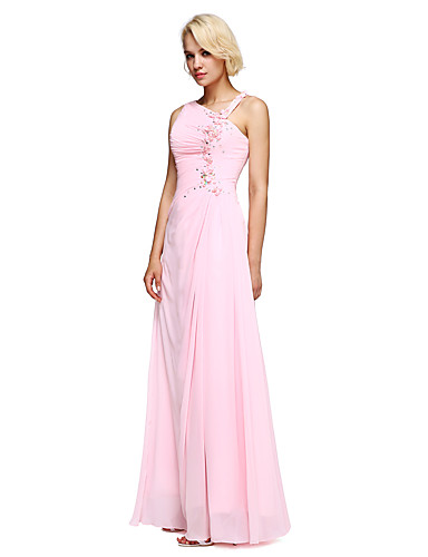 Ball Gown Notched Floor Length Chiffon Bridesmaid Dress with Beading Flower(s) by LAN TING BRIDE®