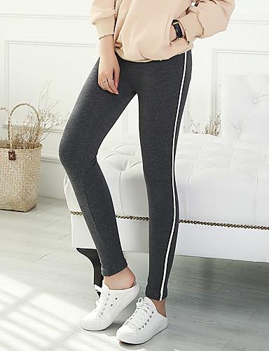 בגדי ריקוד נשים כותנה רזה מכנסיים אחיד / פסים