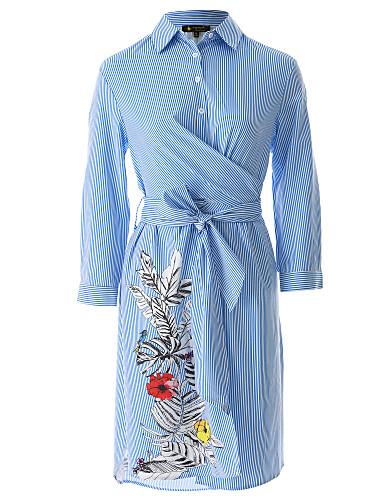 צווארון חולצה מעל הברך פסים פרחוני  בוטני - שמלה ישרה ליציאה בגדי ריקוד נשים