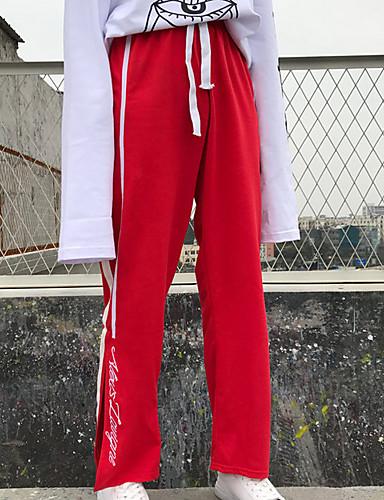 בגדי ריקוד נשים כותנה מכנסי טרנינג מכנסיים פסים