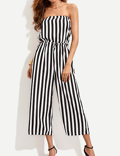 cheap Women's Jumpsuits & Rompers-Women's Fine Stripe Holiday Boat Neck Black Jumpsuit, Color Block L XL XXL Cotton Sleeveless Spring Summer